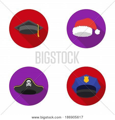 Graduate, santa, police, pirate. Hats set collection icons in flat style vector symbol stock illustration .