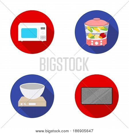 Steamer, microwave oven, scales, lcd tv.Household set collection icons in flat style vector symbol stock illustration .