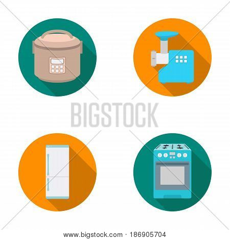 Multivarka, refrigerator, meat grinder, gas stove.Household set collection icons in flat style vector symbol stock illustration .