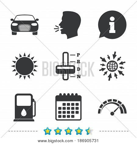 Transport icons. Car tachometer and automatic transmission symbols. Petrol or Gas station sign. Information, go to web and calendar icons. Sun and loud speak symbol. Vector