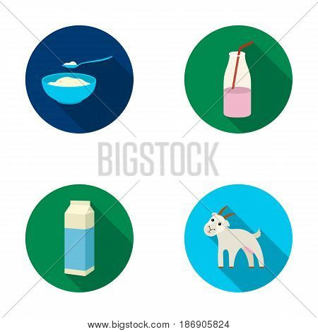 Bowl of cottage cheese, yogurt, milk package, goat. Milk set collection icons in flat style vector symbol stock illustration .