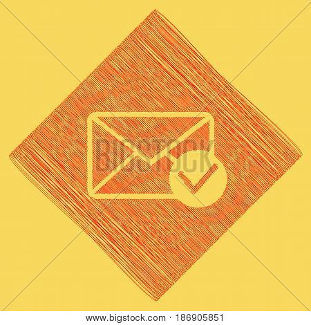 Mail sign illustration with allow mark. Vector. Red scribble icon obtained as a result of subtraction rhomb and path. Royal yellow background.