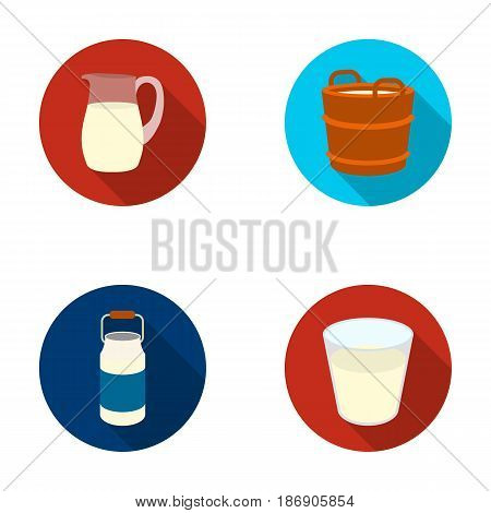 A can, a glass, a jug, a tub. Moloko set collection icons in flat style vector symbol stock illustration .