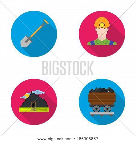 A shovel, a miner, an entrance to a mine, a trolley with coal.Mine set collection icons in flat style vector symbol stock illustration .