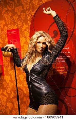 Amsterdam, Netherlands - March, 2017: Wax figure of Madonna singer in Madame Tussauds Wax museum in Amsterdam, Netherlands