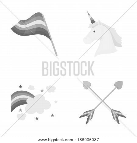 Flag, unicorn symbol, arrows with heart.Gay set collection icons in monochrome style vector symbol stock illustration .