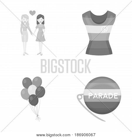 Lesbians, dress, balls, gay parade. Gay set collection icons in monochrome style vector symbol stock illustration .
