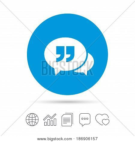 Chat Quote sign icon. Quotation mark symbol. Double quotes at the end of words. Copy files, chat speech bubble and chart web icons. Vector