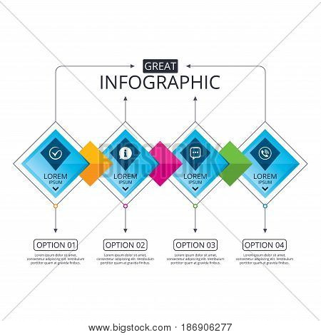 Infographic flowchart template. Business diagram with options. Check or Tick icon. Phone call and Information signs. Support communication chat bubble symbol. Timeline steps. Vector