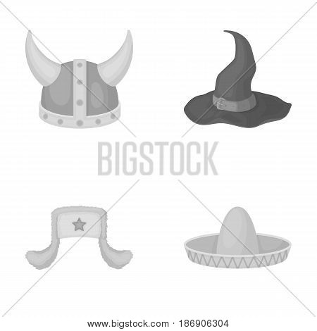 Sombrero, hat with ear-flaps, helmet of the viking.Hats set collection icons in monochrome style vector symbol stock illustration .