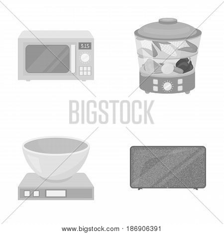 Steamer, microwave oven, scales, lcd tv.Household set collection icons in monochrome style vector symbol stock illustration .