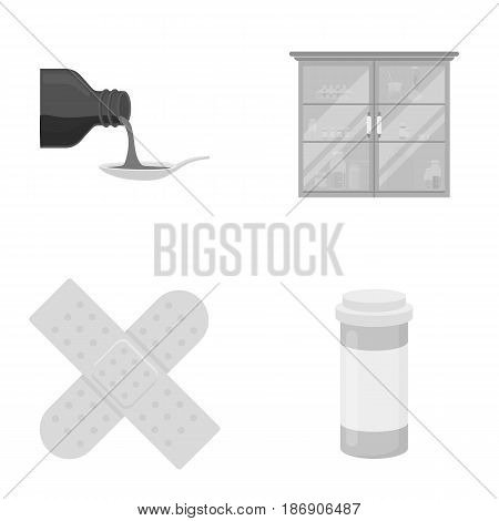 Syrup in a spoon, plaster, honey, medical cabinet.Medicine set collection icons in monochrome style vector symbol stock illustration .
