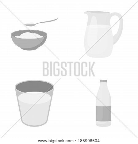 Bowl of cottage cheese, a glass, a bottle of kefir, a jug. Moloko set collection icons in monochrome style vector symbol stock illustration .