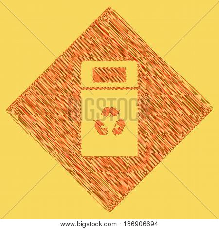 Trashcan sign illustration. Vector. Red scribble icon obtained as a result of subtraction rhomb and path. Royal yellow background.