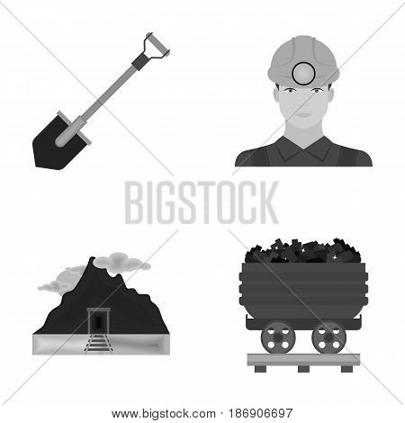 A shovel, a miner, an entrance to a mine, a trolley with coal.Mine set collection icons in monochrome style vector symbol stock illustration .