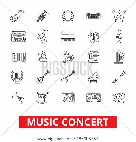 Music concerts,  guitar, piano, dj party, drums, instruments, notes, band show line icons. Editable strokes. Flat design vector illustration symbol concept. Linear signs isolated on white background