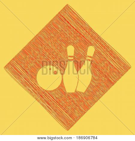 Bowling sign illustration. Vector. Red scribble icon obtained as a result of subtraction rhomb and path. Royal yellow background.