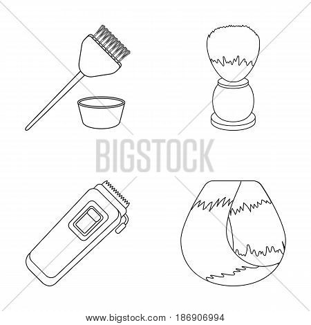 Brush for painting hair and other equipment. Hairdresser set collection icons in outline style vector symbol stock illustration .