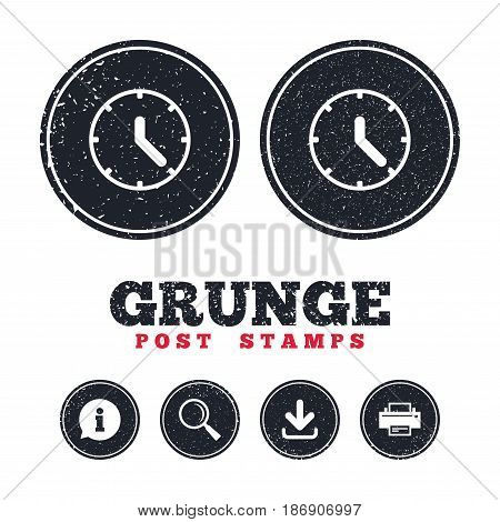 Grunge post stamps. Clock sign icon. Mechanical clock symbol. Information, download and printer signs. Aged texture web buttons. Vector