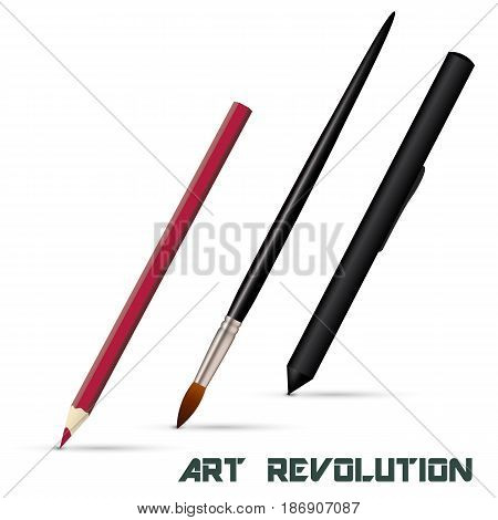 Art brush, pencil, graphic tablet stylus isolated on white background