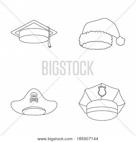 Graduate, santa, police, pirate. Hats set collection icons in outline style vector symbol stock illustration .
