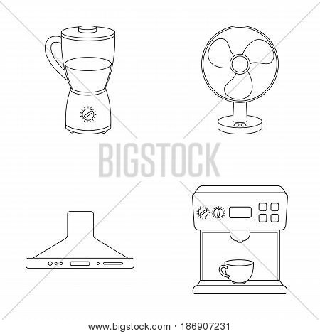 Blender, extractor and other equipment.Household set collection icons in outline style vector symbol stock illustration .