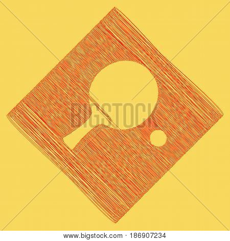 Ping pong paddle with ball. Vector. Red scribble icon obtained as a result of subtraction rhomb and path. Royal yellow background.