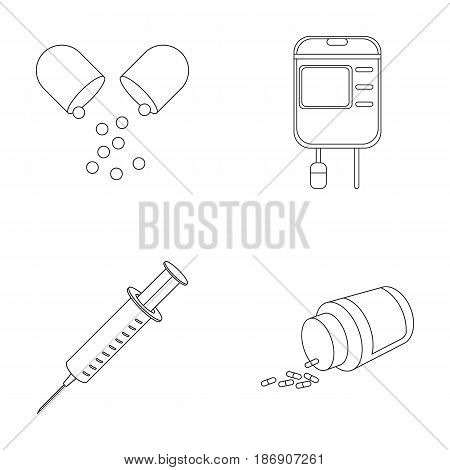 Pills, a syringe, a container of blood.Mtdicine set collection icons in outline style vector symbol stock illustration .