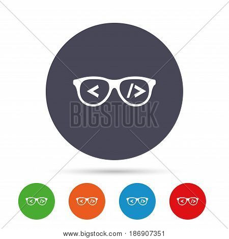 Coder sign icon. Programmer symbol. Glasses icon. Round colourful buttons with flat icons. Vector