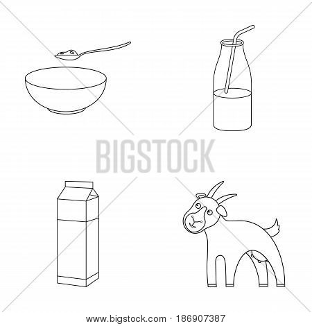 Bowl of cottage cheese, yogurt, milk package, goat. Milk set collection icons in outline style vector symbol stock illustration .