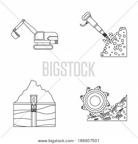 Excavator, tunnel, elevator, coal harvester and other equipment.Mine set collection icons in outline style vector symbol stock illustration .