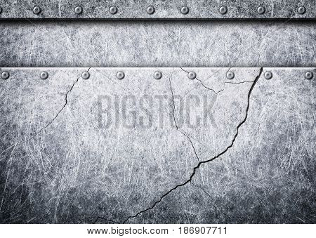 Steel Metal Plates With Rivets Seamless Background, 3D, Illustration