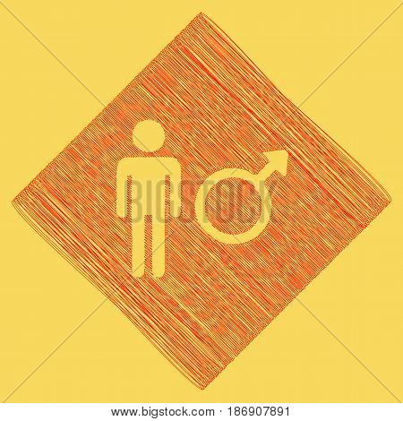 Male sign illustration. Vector. Red scribble icon obtained as a result of subtraction rhomb and path. Royal yellow background.