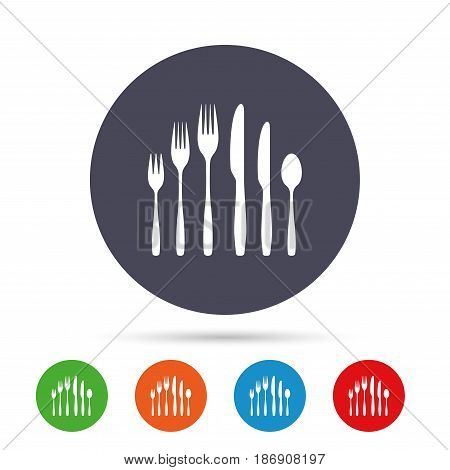 Dessert fork, knife, teaspoon sign icon. Cutlery collection set symbol. Round colourful buttons with flat icons. Vector