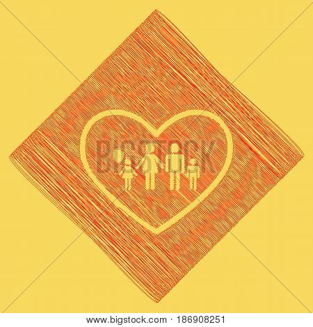 Family sign illustration in heart shape. Vector. Red scribble icon obtained as a result of subtraction rhomb and path. Royal yellow background.