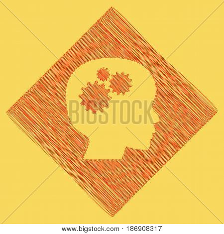 Thinking head sign. Vector. Red scribble icon obtained as a result of subtraction rhomb and path. Royal yellow background.