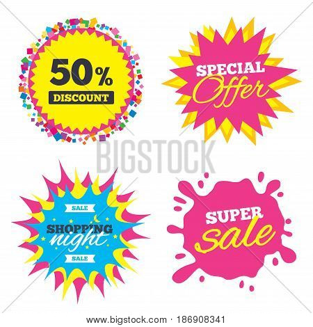 Sale splash banner, special offer star. 50 percent discount sign icon. Sale symbol. Special offer label. Shopping night star label. Vector