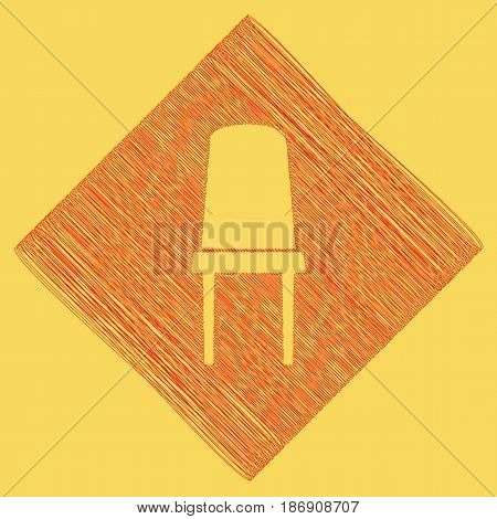 Office chair sign. Vector. Red scribble icon obtained as a result of subtraction rhomb and path. Royal yellow background.