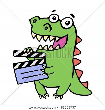 Cute smiling dinosaur with movie clapper board. Vector illustration. Funny imaginary character.
