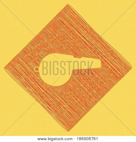 Whistle sign. Vector. Red scribble icon obtained as a result of subtraction rhomb and path. Royal yellow background.
