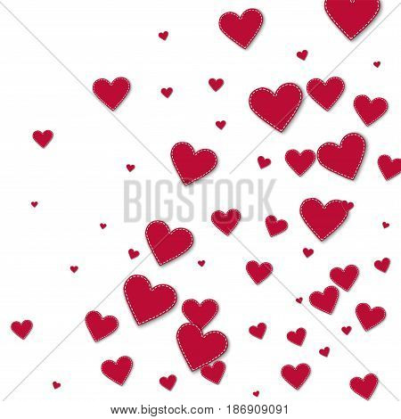 Red Stitched Paper Hearts. Abstract Random Scatter On White Background. Vector Illustration.