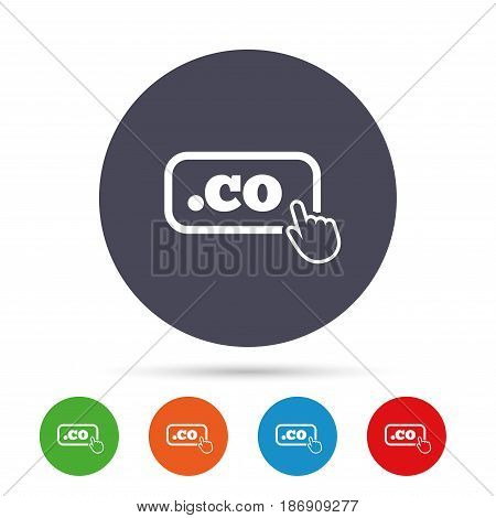 Domain CO sign icon. Top-level internet domain symbol with hand pointer. Round colourful buttons with flat icons. Vector