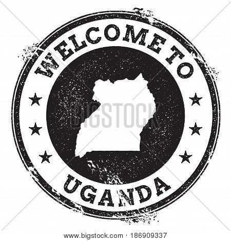 Vintage Passport Welcome Stamp With Uganda Map. Grunge Rubber Stamp With Welcome To Uganda Text, Vec