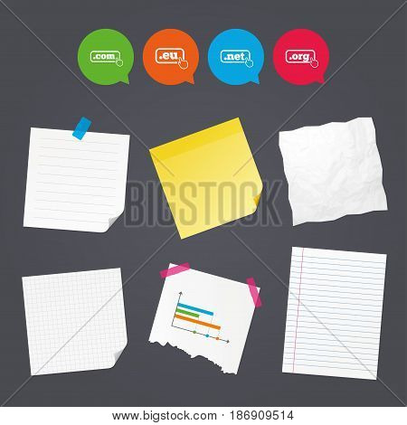 Business paper banners with notes. Top-level internet domain icons. Com, Eu, Net and Org symbols with hand pointer. Unique DNS names. Sticky colorful tape. Speech bubbles with icons. Vector