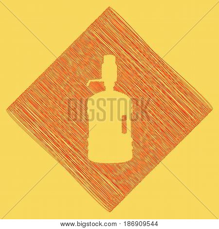 Plastic bottle silhouette with water and siphon. Vector. Red scribble icon obtained as a result of subtraction rhomb and path. Royal yellow background.
