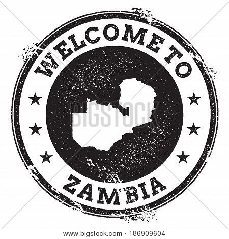 Vintage Passport Welcome Stamp With Zambia Map. Grunge Rubber Stamp With Welcome To Zambia Text, Vec