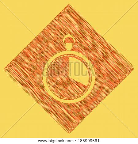 The 20 seconds, minutes stopwatch sign. Vector. Red scribble icon obtained as a result of subtraction rhomb and path. Royal yellow background.