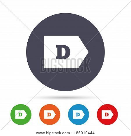Energy efficiency class D sign icon. Energy consumption symbol. Round colourful buttons with flat icons. Vector