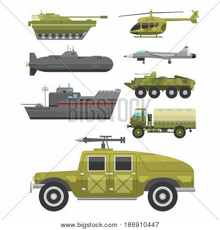 Military technic army war tanks and industry technic armor defense vector collection. Transportation weapon technic exhibition international fighting conflict weaponry system.