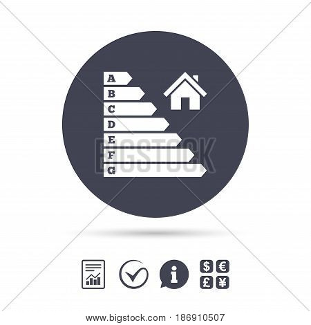 Energy efficiency icon. Electricity consumption symbol. House building sign. Report document, information and check tick icons. Currency exchange. Vector